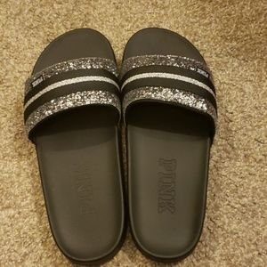 96d011b2bf96fc Women s Victoria Secret Pink Silver Slides on Poshmark